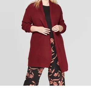 Burgundy textured sweater cardigan